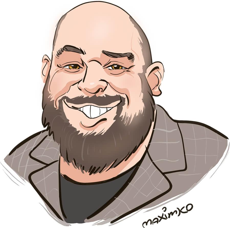 messezeichner maximko digital karikatur portrait ipad surface eventzeichner schnellzeichner simonenko dicker mann lachend