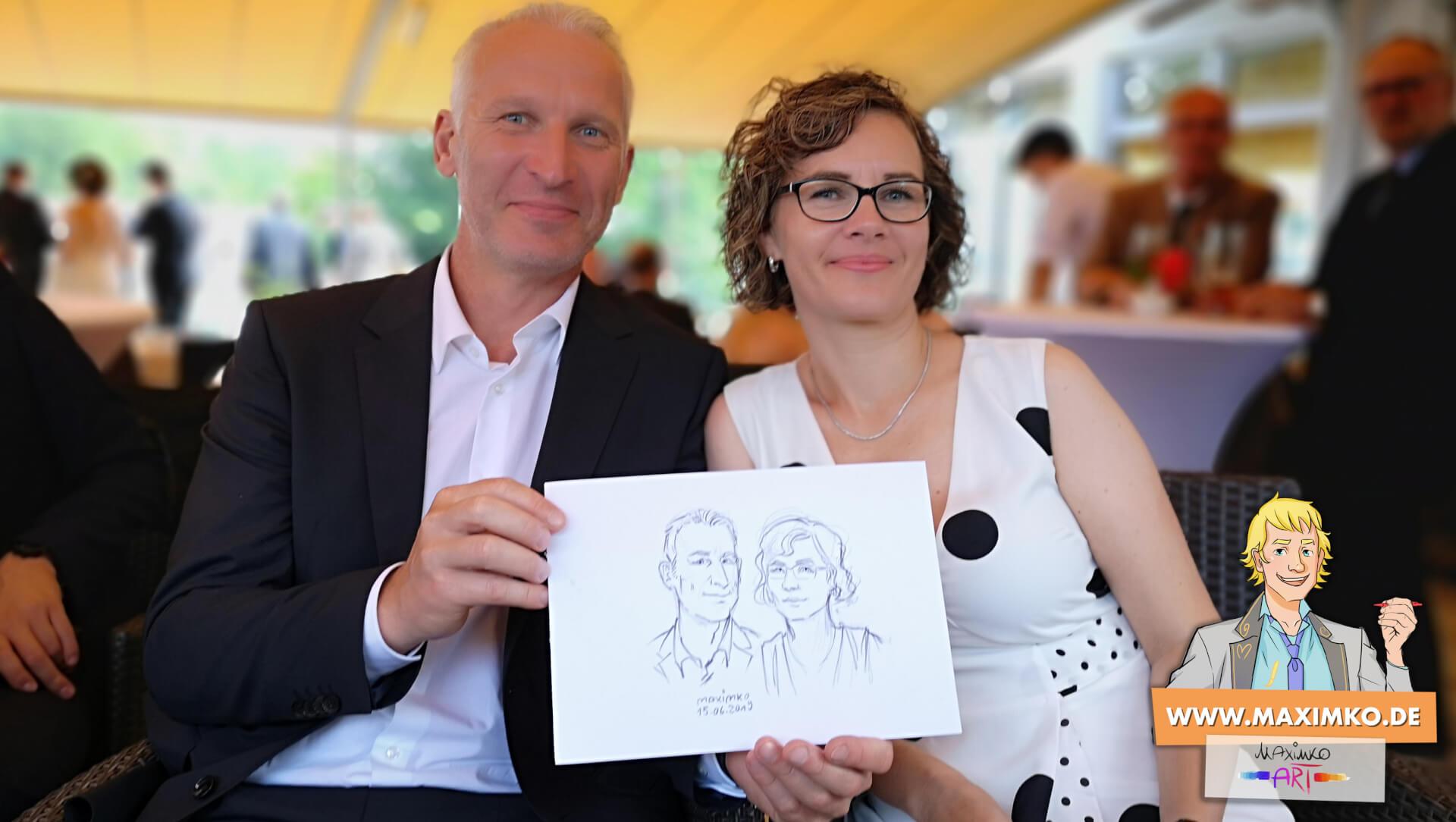 paerchen zeichnung karikatur auf hochzeit von maxim simonenko