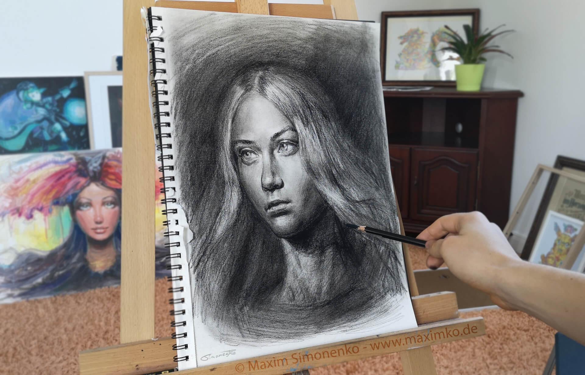 kohle portrait junge frau maxim simonenko