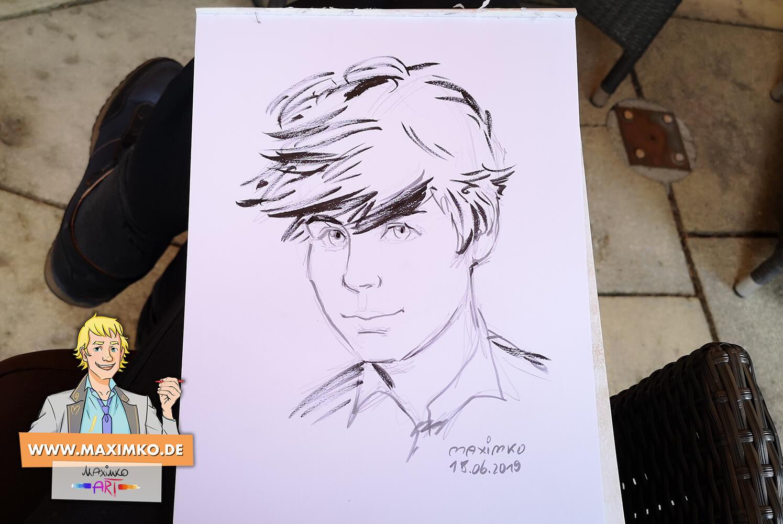 portrait junge im manga stil von zeichner maxim simonenko auf hochzeit