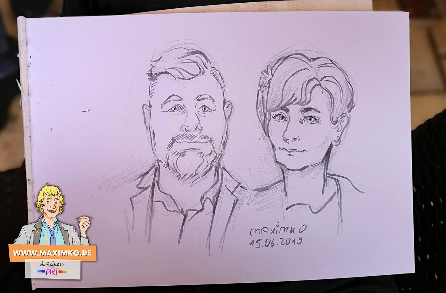 zeichnung eines paerchens auf hochzeit von portraitzeichner maxim simonenko