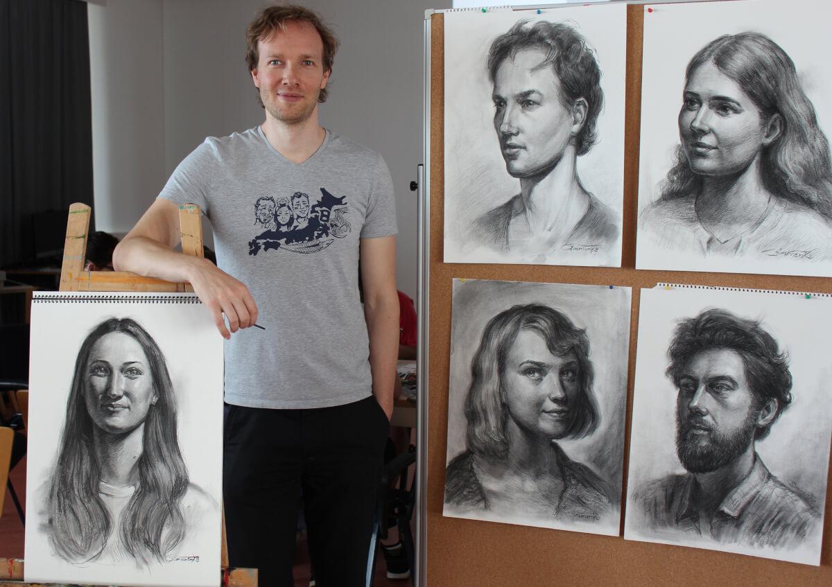 kohle portrait porträt oma teddy bär gruppenportrait von maxim simonenko