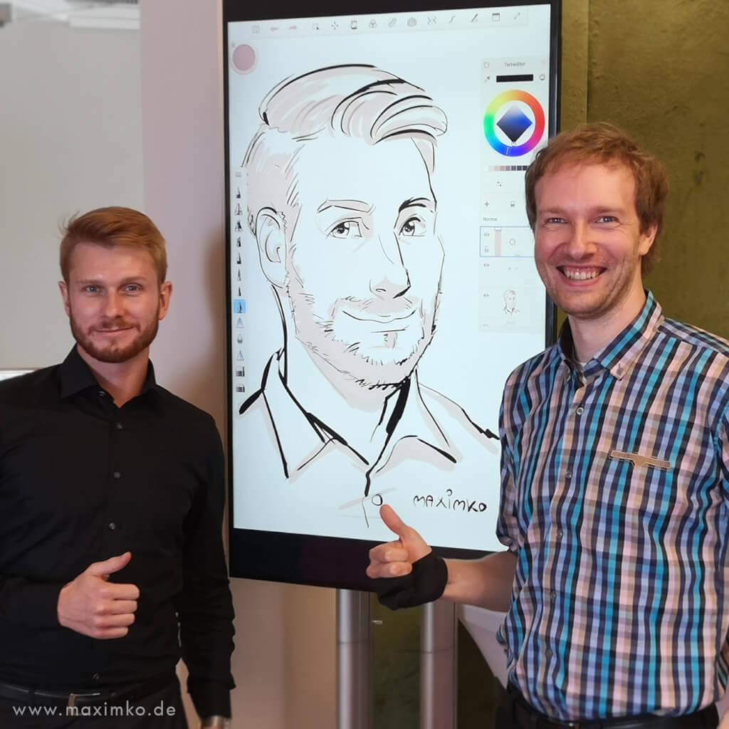 schnellzeichner in berlin messezeichner maximko digital karikatur portrait ipad surface eventzeichner schnellzeichner simonenko