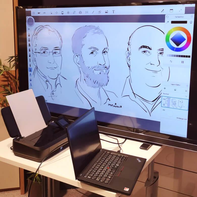 messezeichner maximko digital karikatur portrait ipad surface eventzeichner schnellzeichner simonenko
