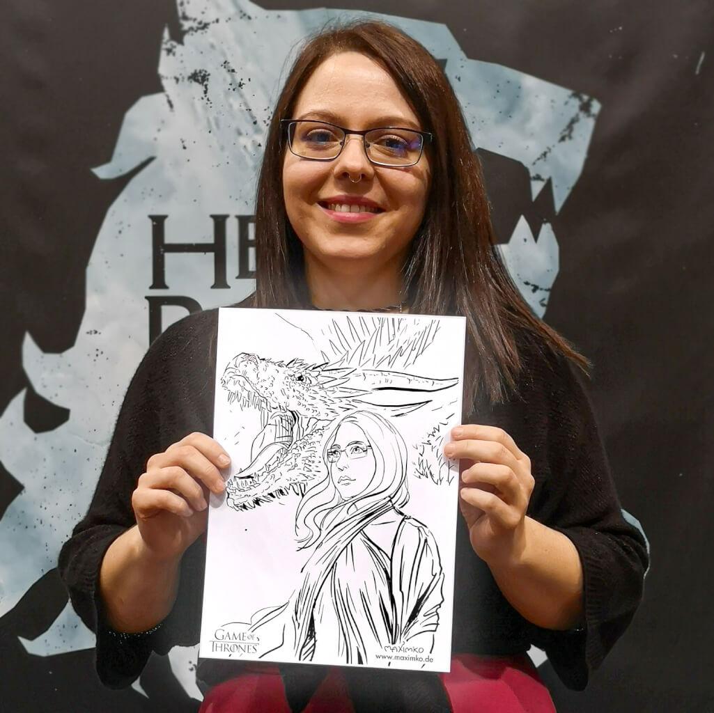 brautpaar portrait zeichnung tusche kreativ schnellzeichner rostock maximko