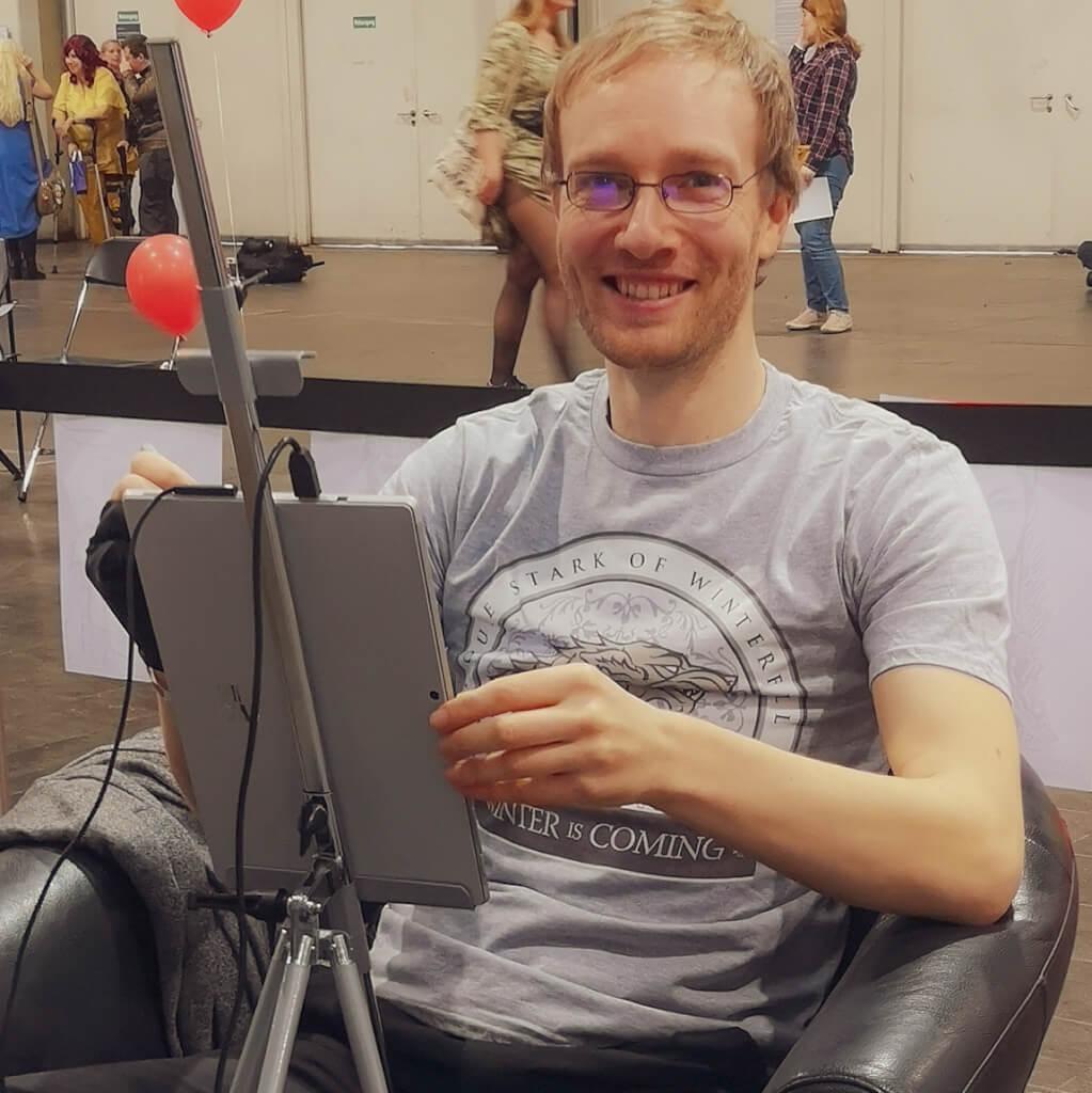 kariakturist messezeichner maximko segmüller digital karikatur portrait ipad surface eventzeichner schnellzeichner simonenko