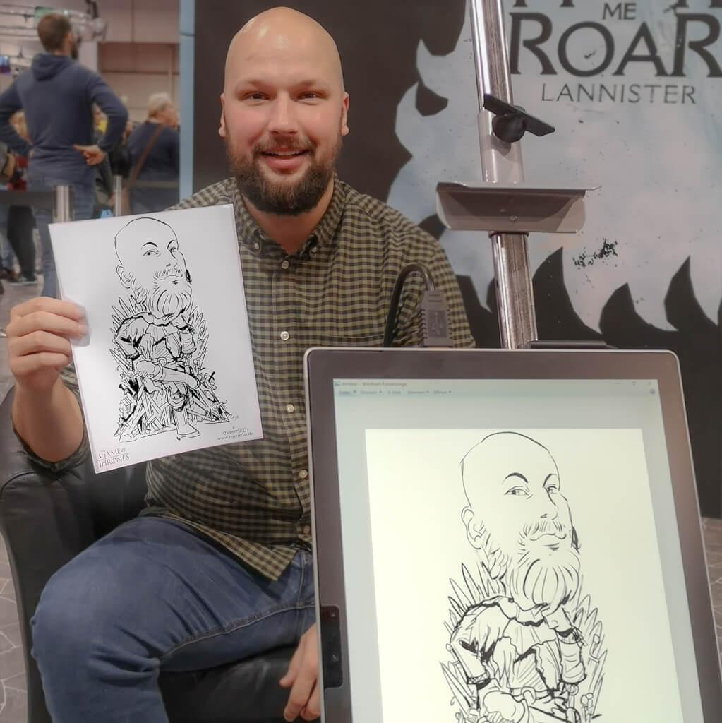 karikaturist messezeichner maximko digital karikatur portrait ipad surface eventzeichner schnellzeichner simonenko