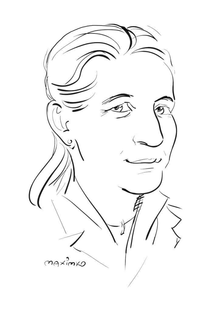kollegin schnellportraet karikatur fondskongress mannheim by maxim simonenko schnellzeichner messezeichner karikaturist