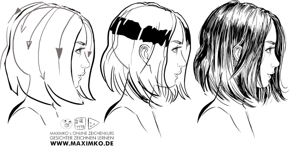 manga comic gameart tutorial girl hair how to draw hair haare zeichnen maximko