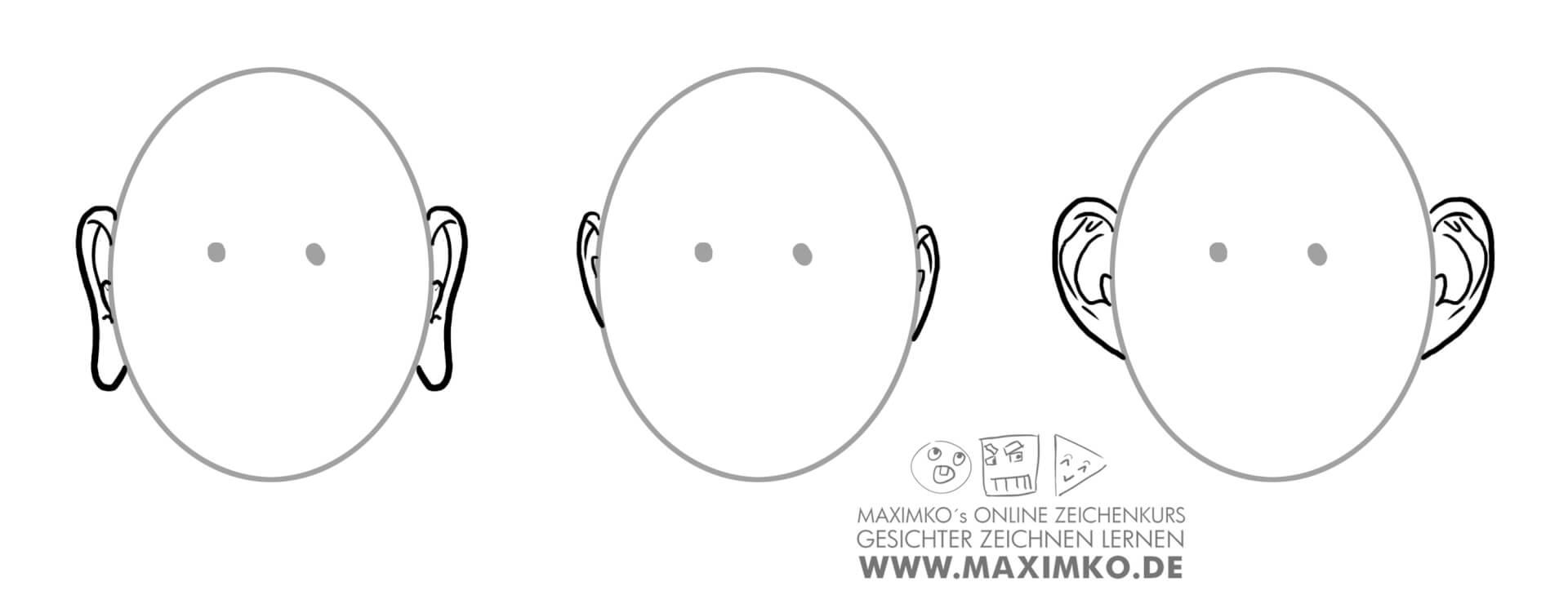 ohren zeichnen lernen tutorial unterschiedliche ohren auswirkung maximko