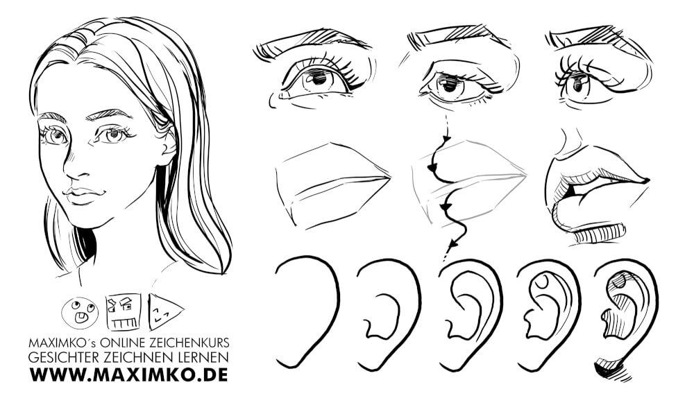 manga comic gameart tutorial augen ohren lippen zeichnen zeichenkurs maximko