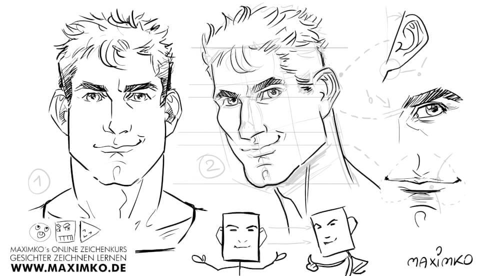 manga comic gameart mann gesicht zeichnen ohren augen mund tutorial