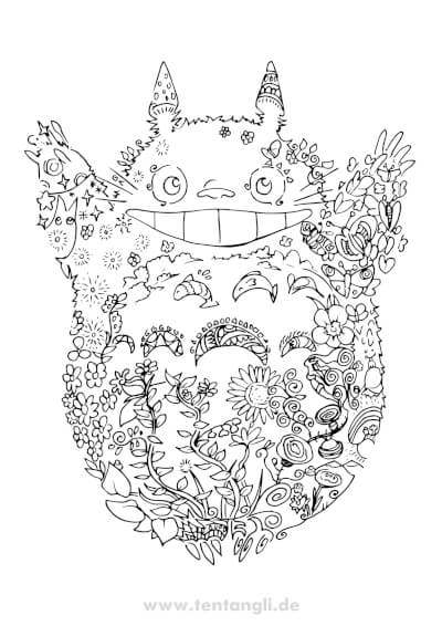 totoro ghibli ausmalbild ausmalbilder tiere anime kostenlos geschenk tentangli maximko