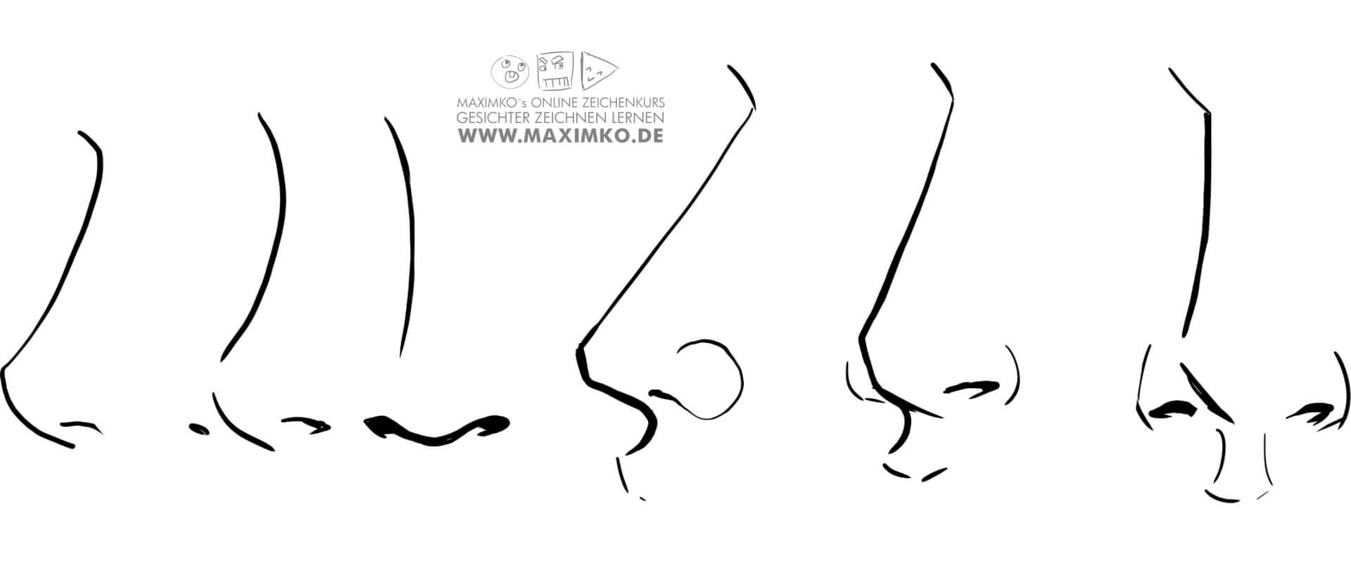 nase mund zeichnen lernen tutorial schritt fuer schritt anleitung von vorne von seite maximko