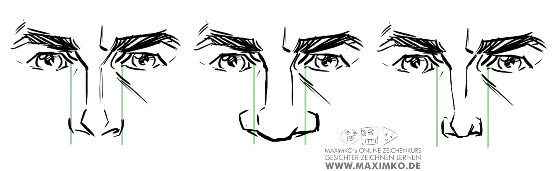 nase zeichnen lernen tutorial online kurs workshop breite schmale nase maximko