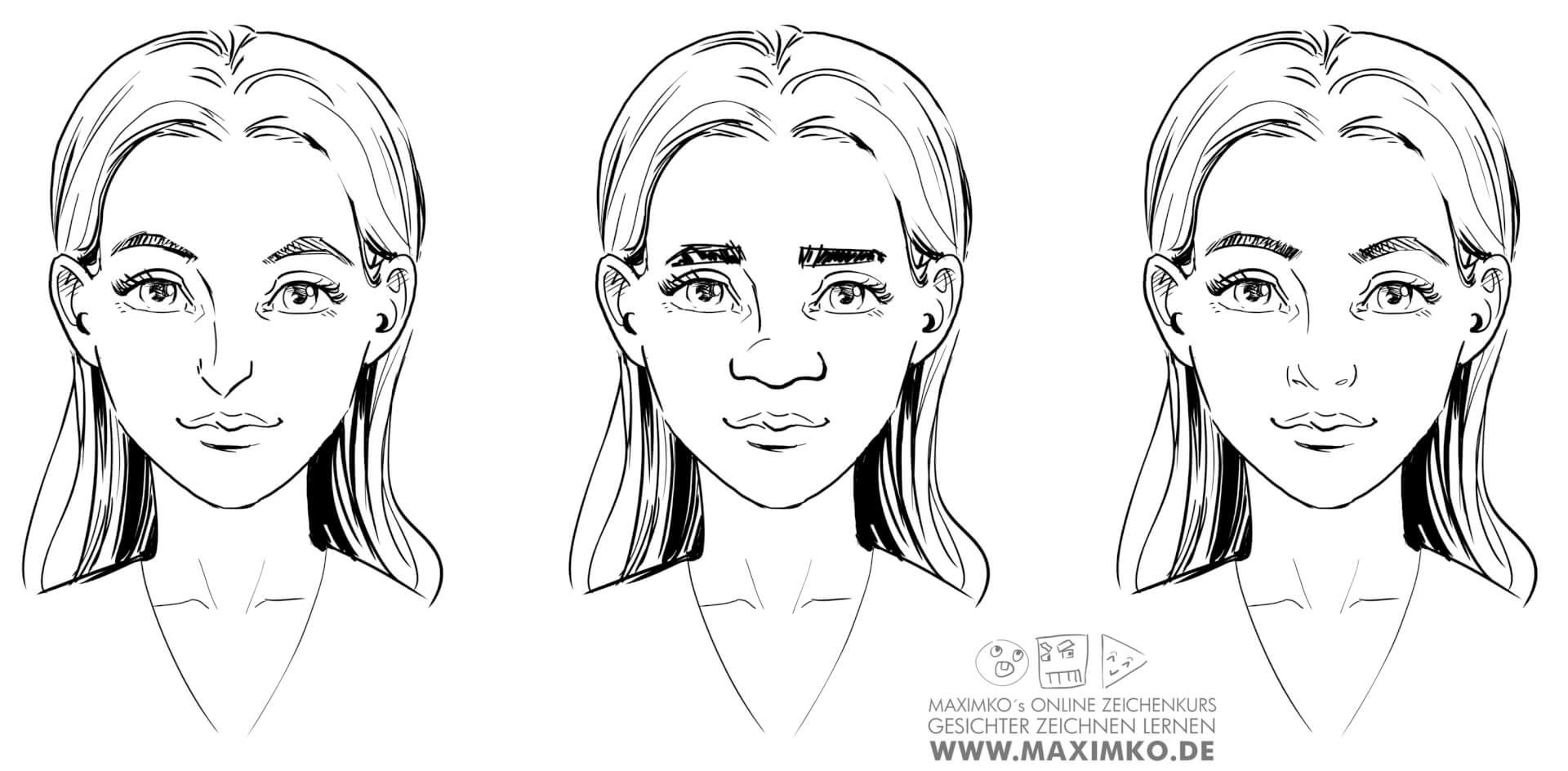 nase zeichnen lernen tutorial online kurs workshop nasenarten selbes gesicht verschiedene nasen maximko