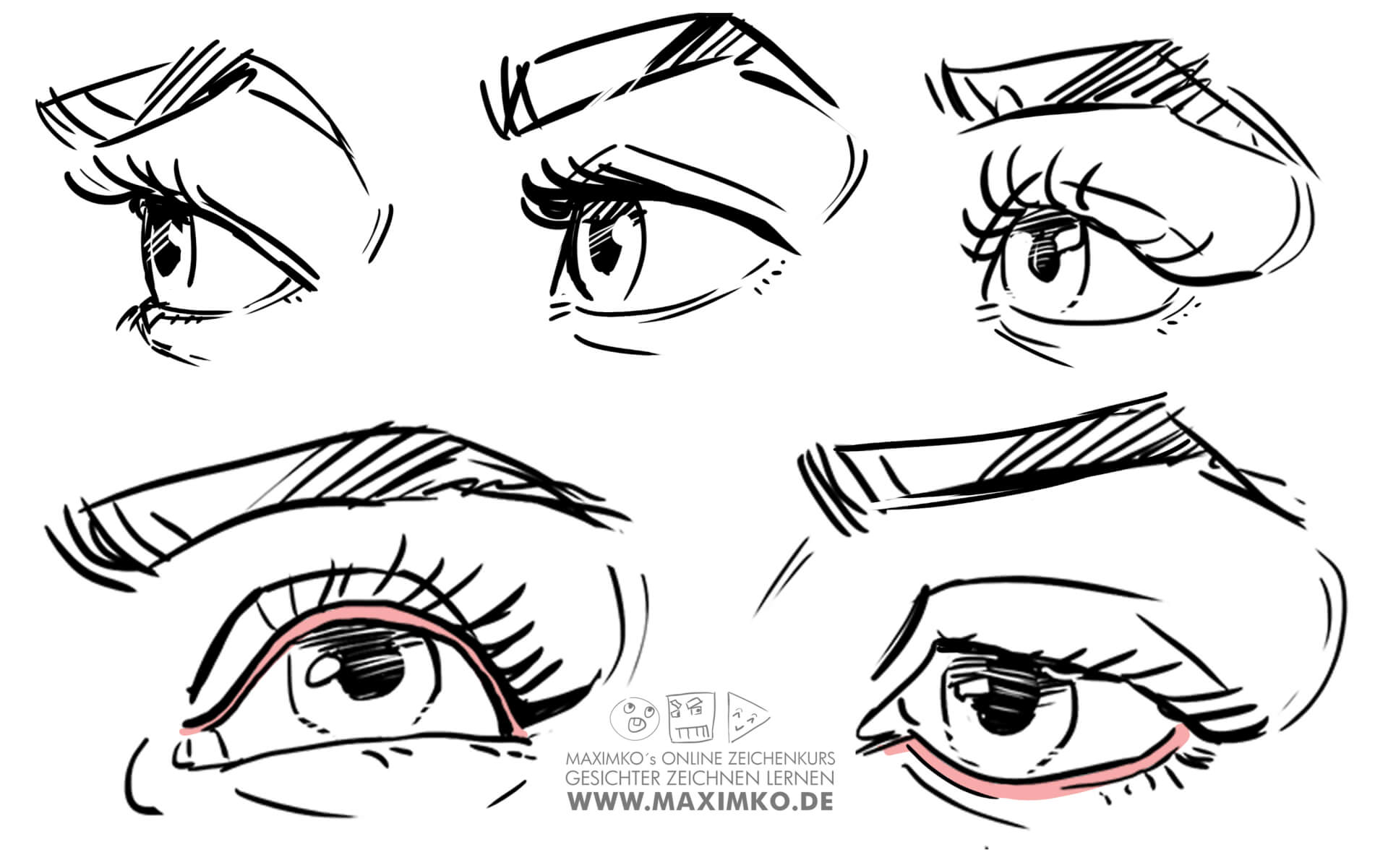 wie zeichnet man augen zeichnen lernen tutorial in perspektive von oben von unten von der seite maximko