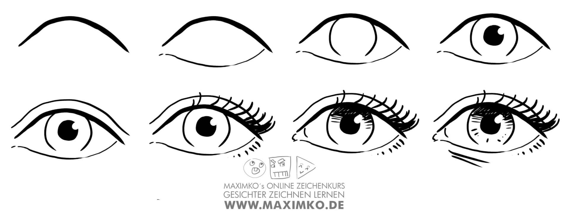 wie zeichnet man augen zeichnen lernen tutorial schritt fuer schritt anleitung how to draw eyes maximko