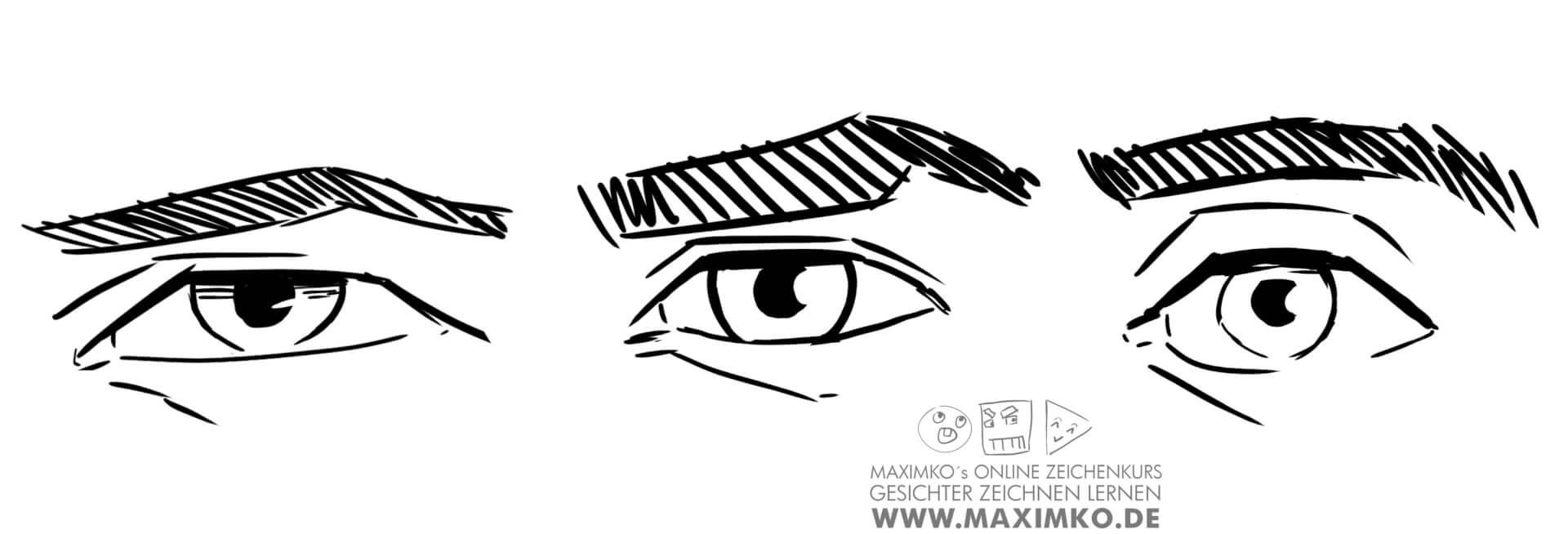 wie zeichnet man augen zeichnen lernen tutorial sichtbarkeit pupille abstand zur augenbraue maximko
