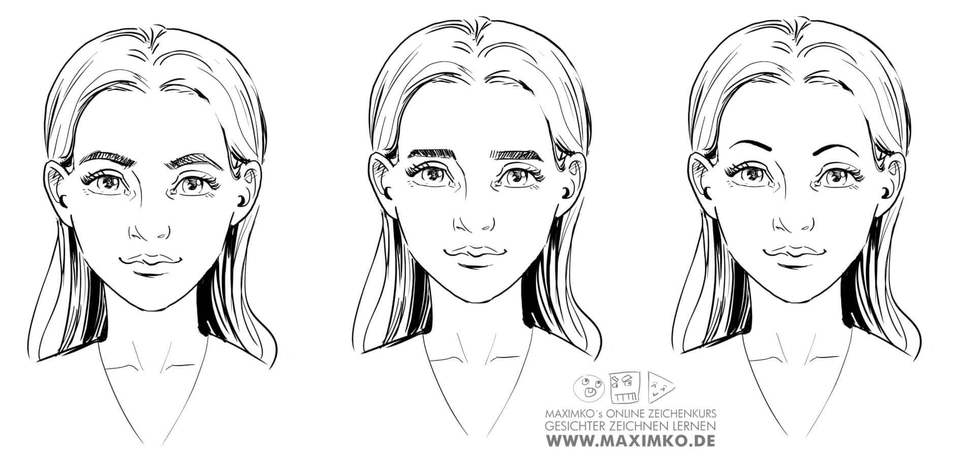 wie zeichnet man augen zeichnen lernen tutorial wie augenbrauen das gesicht veraendern maximko