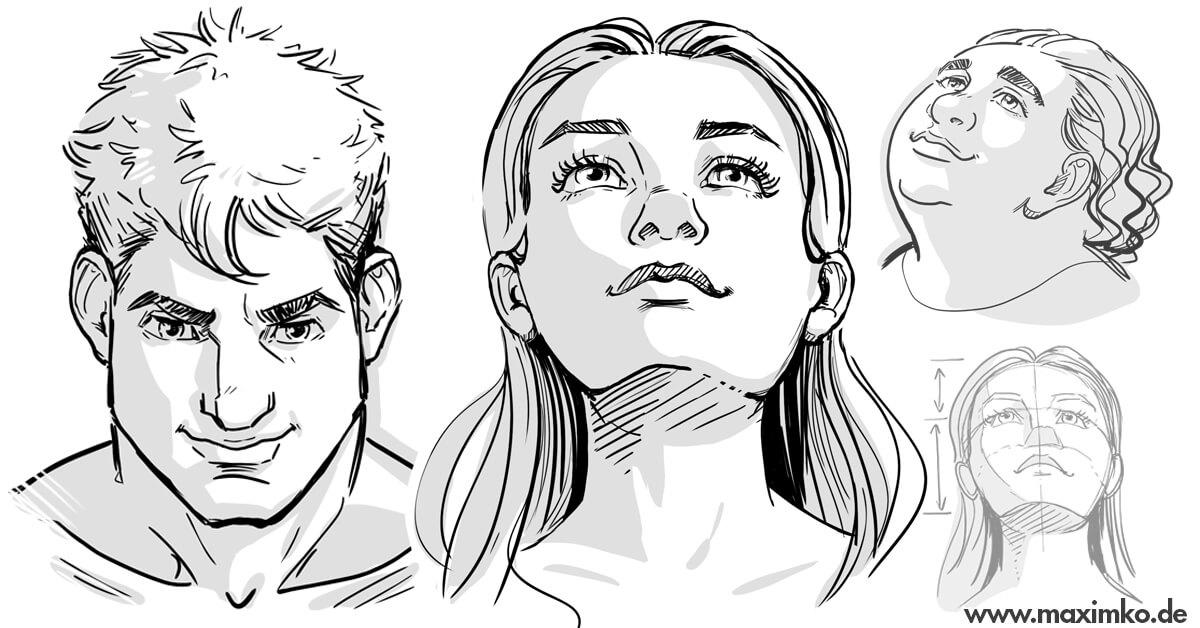 menschen zeichnen in perspektive für manga comic concept art kurs tutorial frau mann charakterdesign maxim simonenko