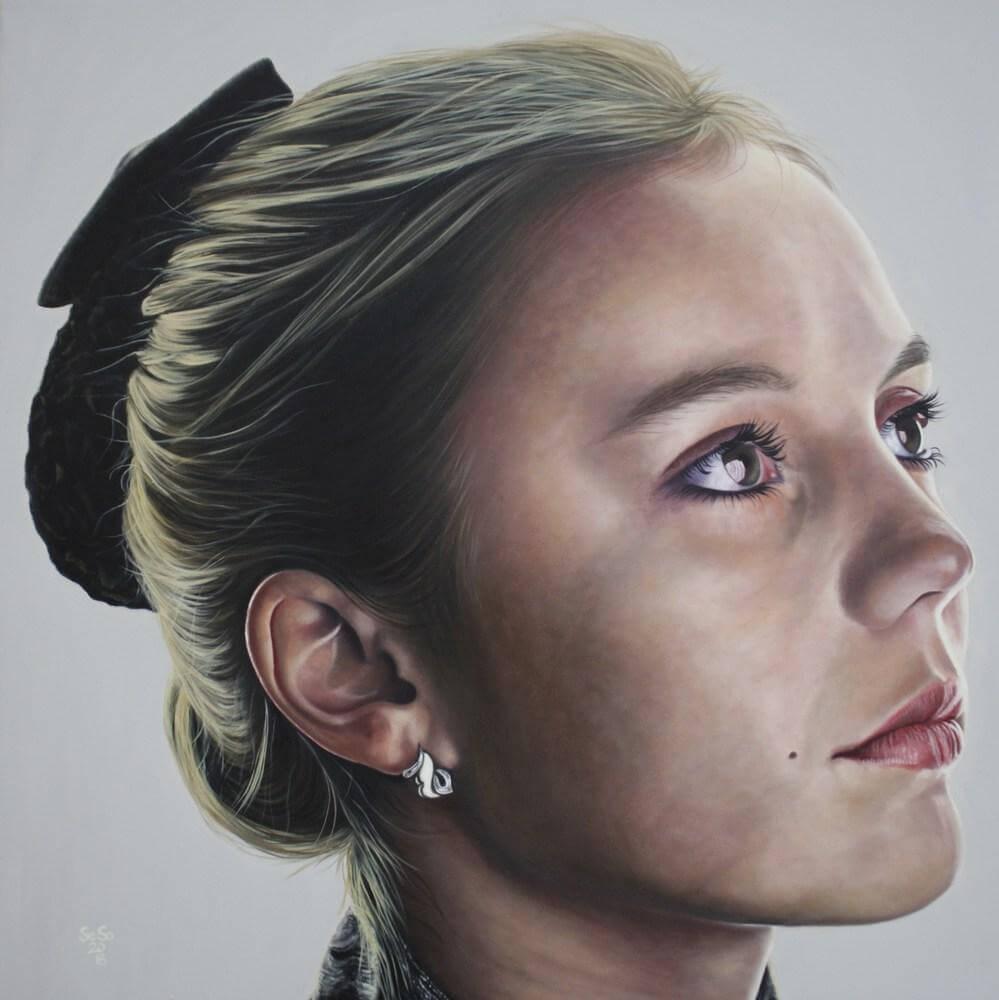 Tanja Seona Sommer portraetmalen mit oel