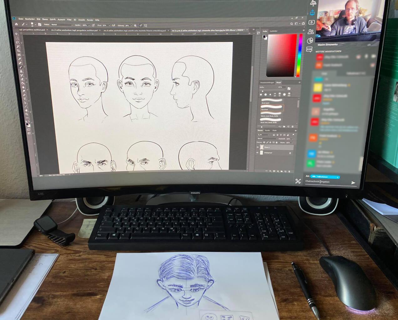 manga comic gameart zeichenkurs online gesichter zeichnen lernen grundlagen maxim simonenko