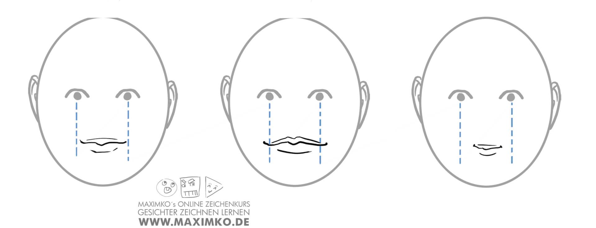 mund und lippen zeichnen lernen tutorial breiter mund schmaler mund mundbreite maximko