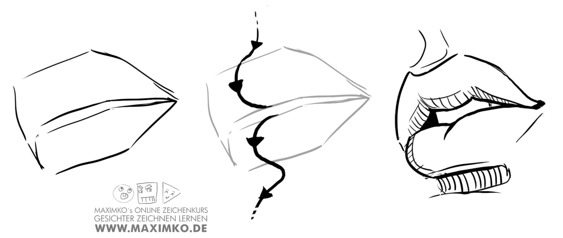 mund und lippen zeichnen lernen tutorial in perspektive von oben konstruieren maximko