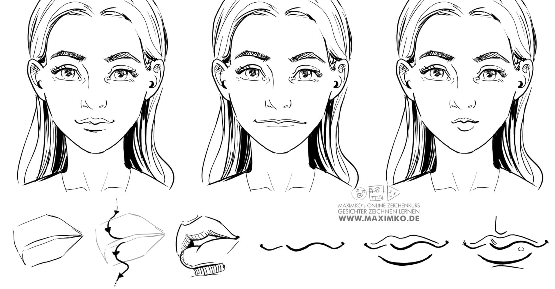 Mund und Lippen zeichnen lernen: Gesichter zeichnen Grundlagen Teil 4