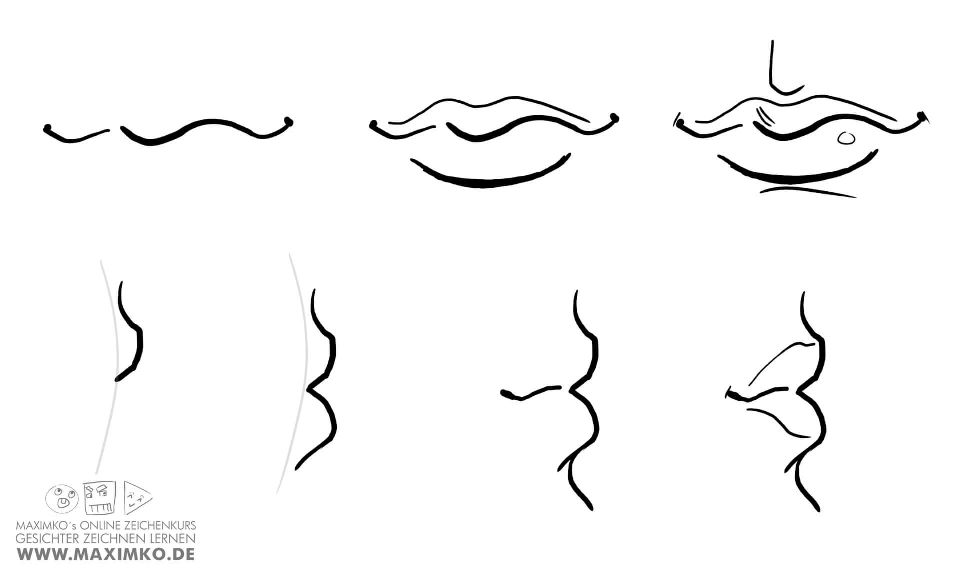 mund und lippen zeichnen lernen tutorial schritt fuer schritt anleitung von vorne von seite maximko