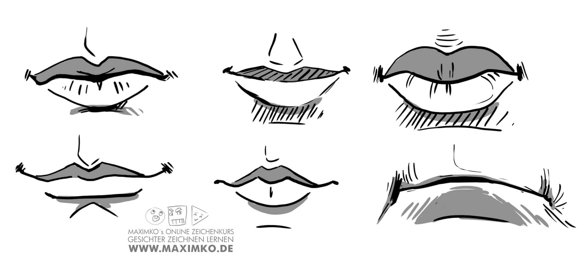 mund und lippen zeichnen lernen tutorial verschiedene muender lippenarten maximko