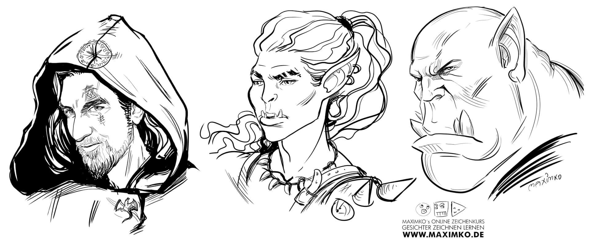 gesichter zeichnen lernen online grundlagen 2 ork magier fantasy charakter maximko simonenko