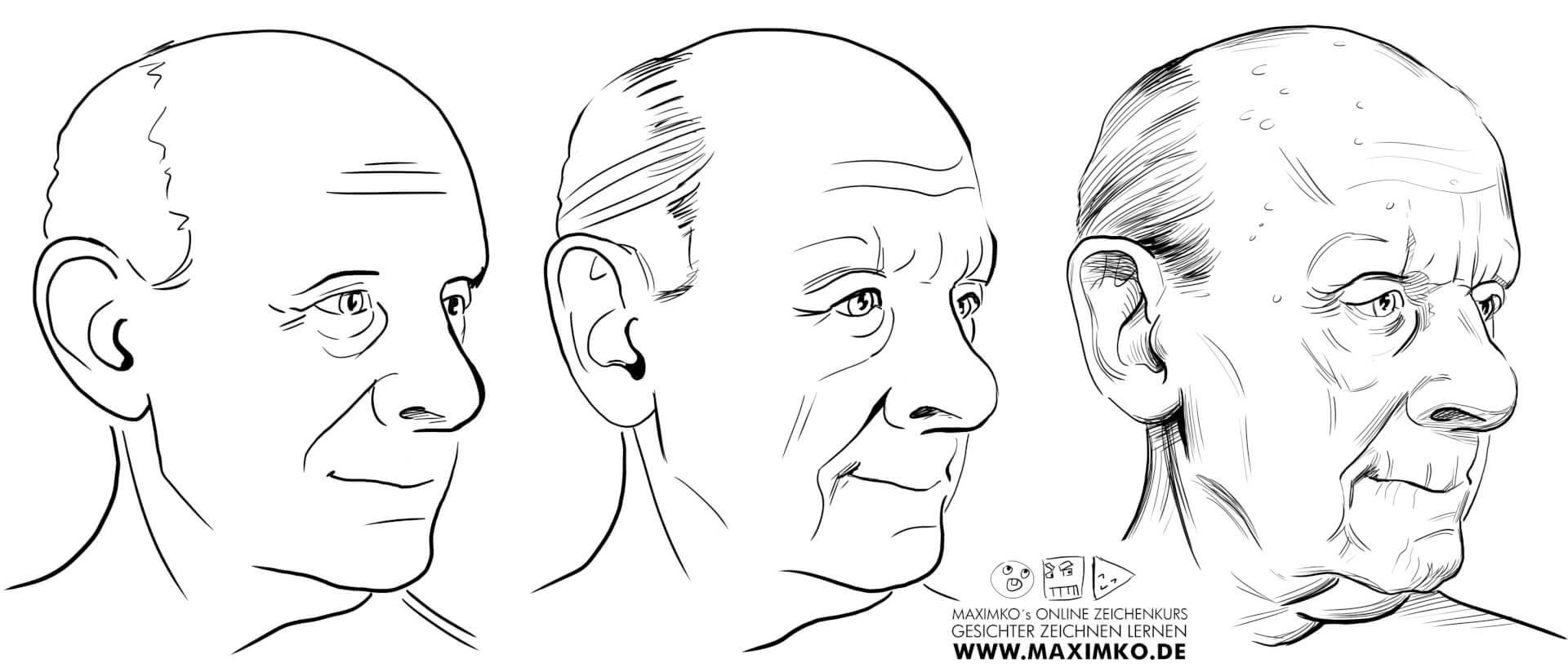 gesichter zeichnen lernen online maxim simonenko alt alter mann zeichnen schritt für schritt anleitung opa oma