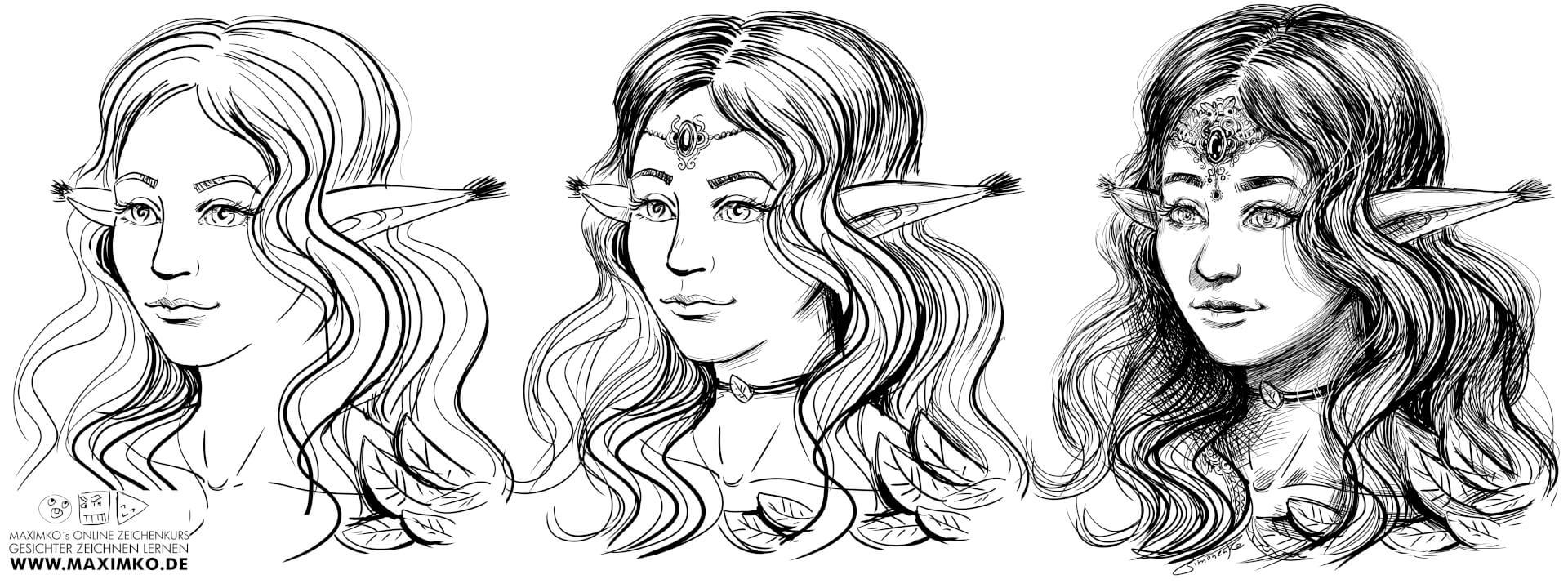 gesichter zeichnen lernen online elfe elf elfin charakter lange haare maximko