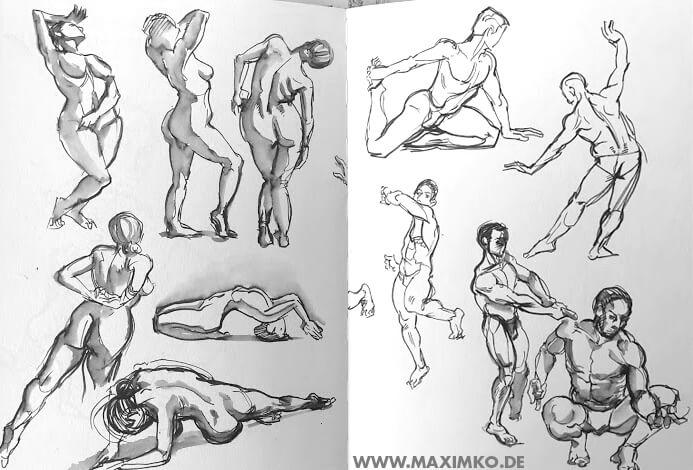 körper zeichnen anatomie posen aktzeichnen kurs online skizzenbuch tusche schnell ausdrucksstark mann frau schattierung linien maxim simonenko