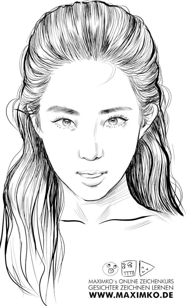 kpop idol zeichnen lernen irene red velvet koreanisches mädchen asiatin asiatisches tusche schön cute portrait online kurs skizze mit maxim simonenko