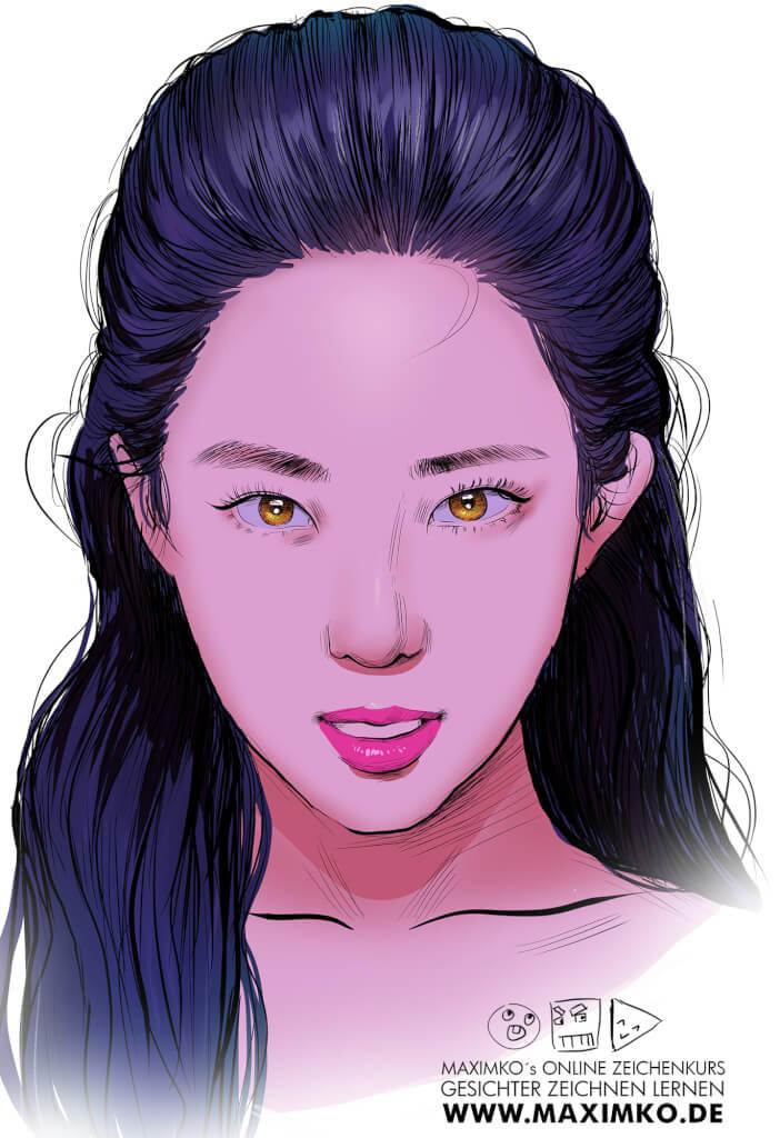 kpop idol zeichnen lernen schritt für schritt irene red velvet basis farbe pinke haare koreanische frau mädchen maximko
