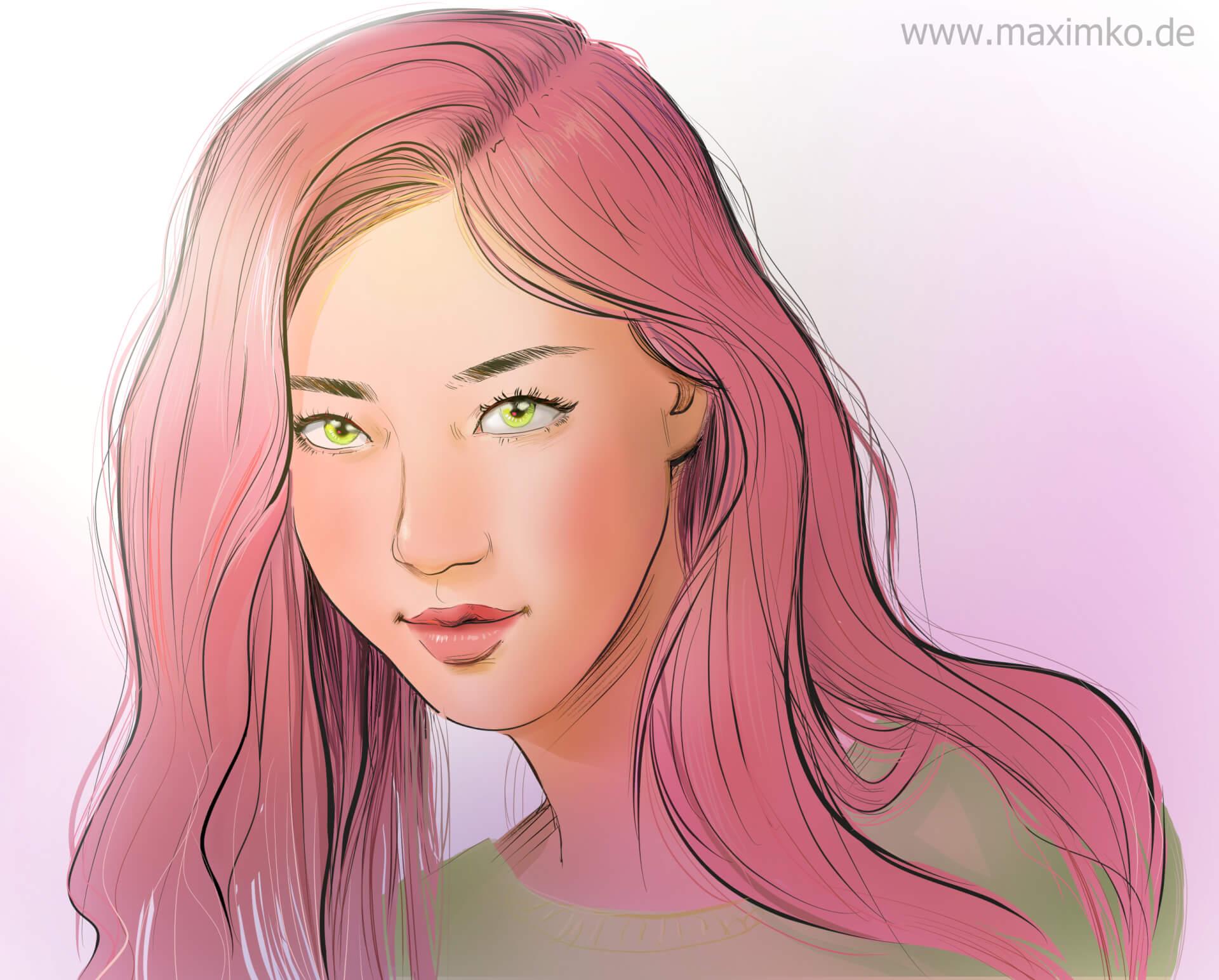 k pop idol zeichnen lernen irene red velvet beautiful girl art online koreansiches asiatisches mädchen zeichnung digital illustration hübsch tutorial blaue haare rote lippen maximko
