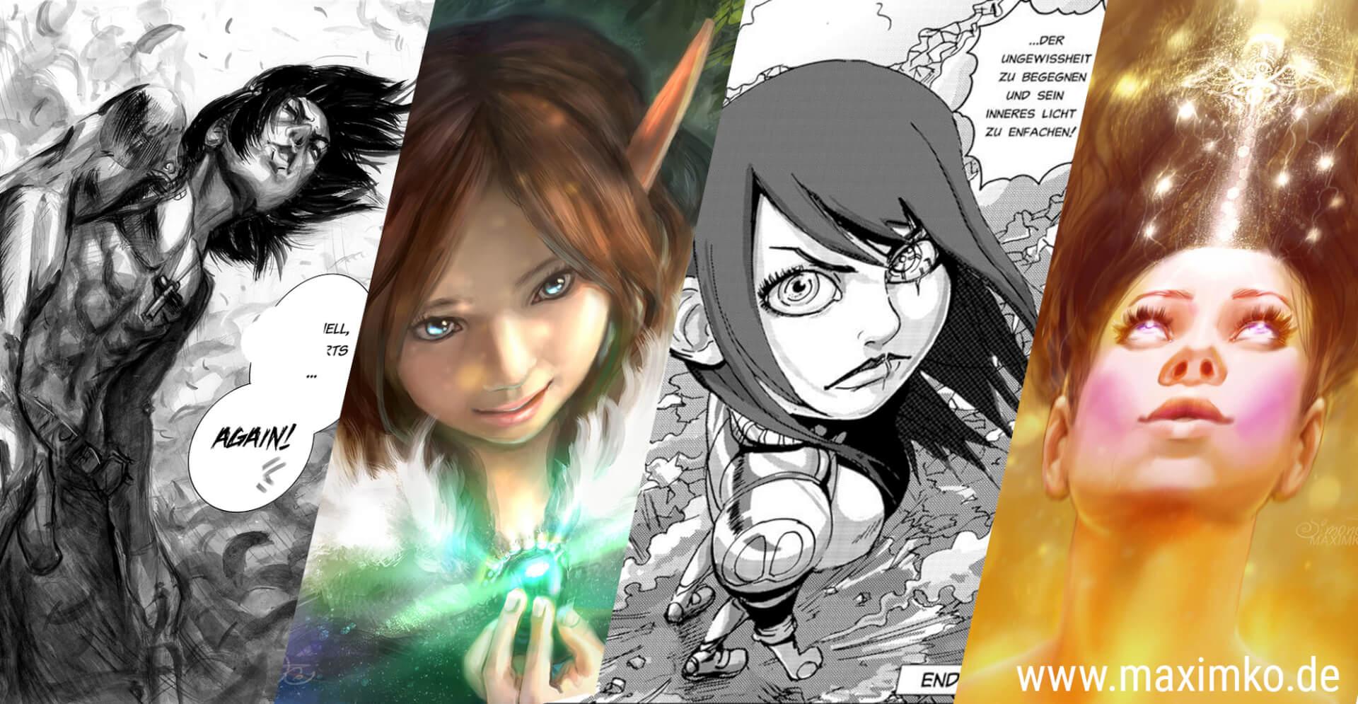 menschen in perspektive zeichnen lernen online manga comic digital fantasy gesichter perspektiven maxim simonenko