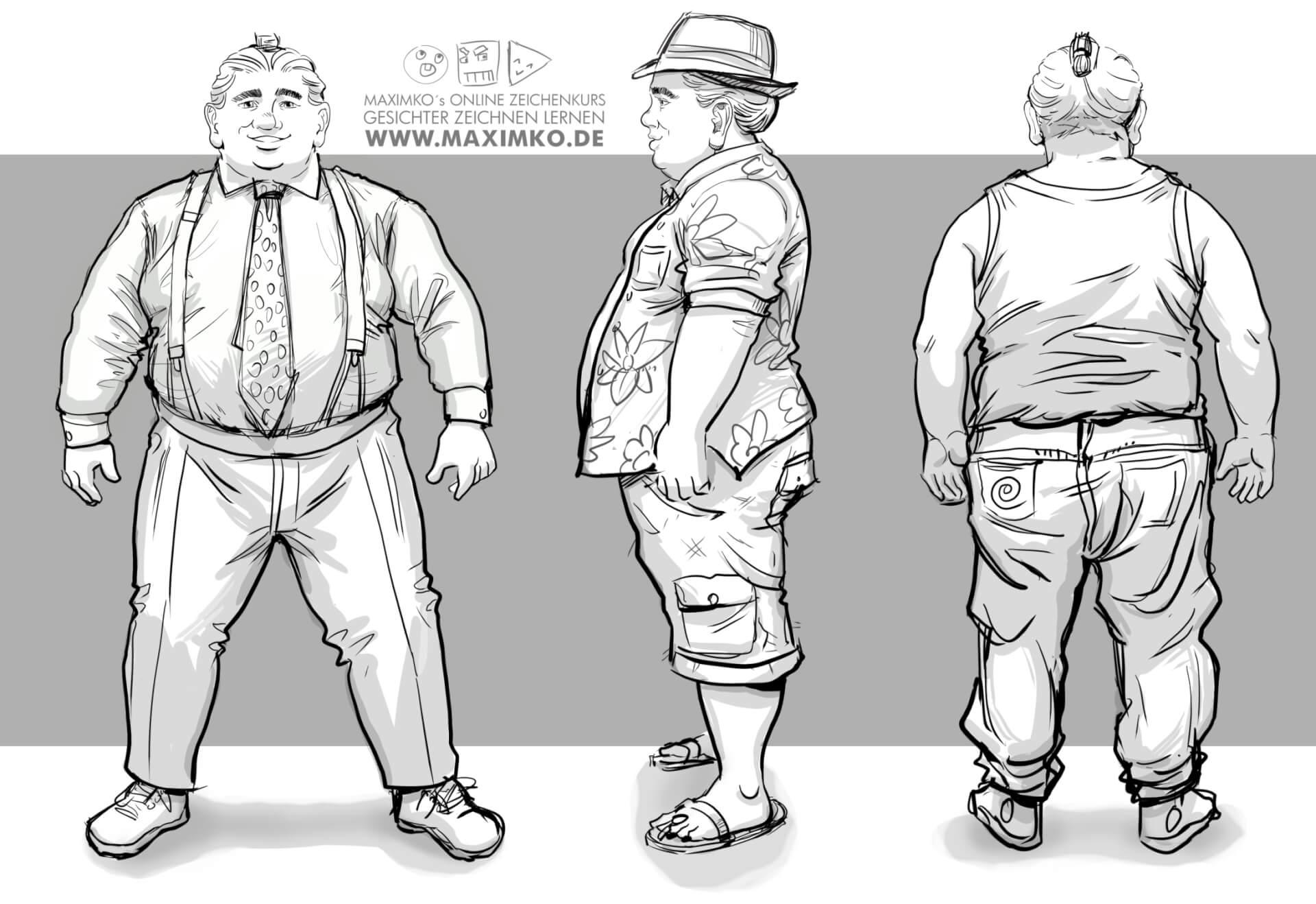 körper zeichnen lernen dicker kerl mann hut manga comic concept art anzug hawaii hemd tutorial faltenwurf maxim simonenko