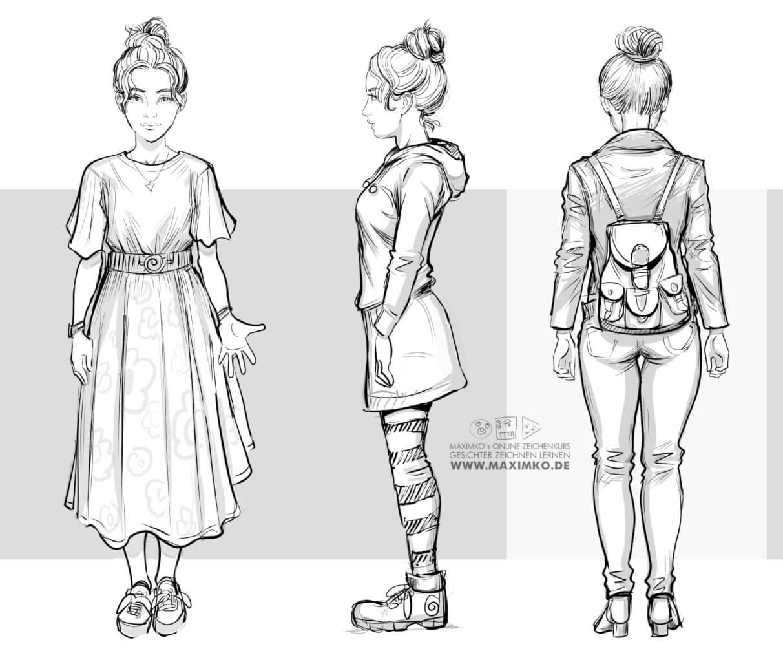 körper zeichnen lernen kleidung outfits frau rucksack rock sommerkleid manga mädchen tutorial schritt für schritt maxim simonenko