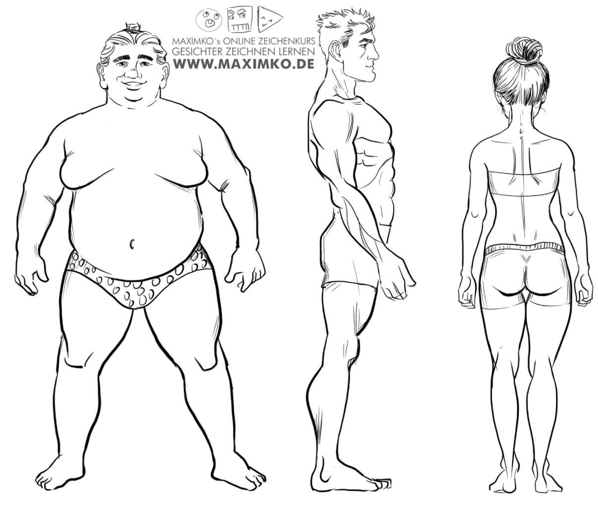 körper zeichnen lernen mann frau anatomie  manga comic concept art charakterdesign ganzkörper stehend maximko