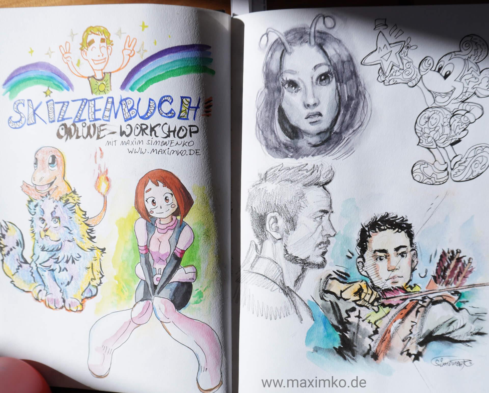 zeichnen im skizzenbuch mit tusche bleistift aquarell buntstiften glumanda mickey mouse robert downey jr online workshop maximko