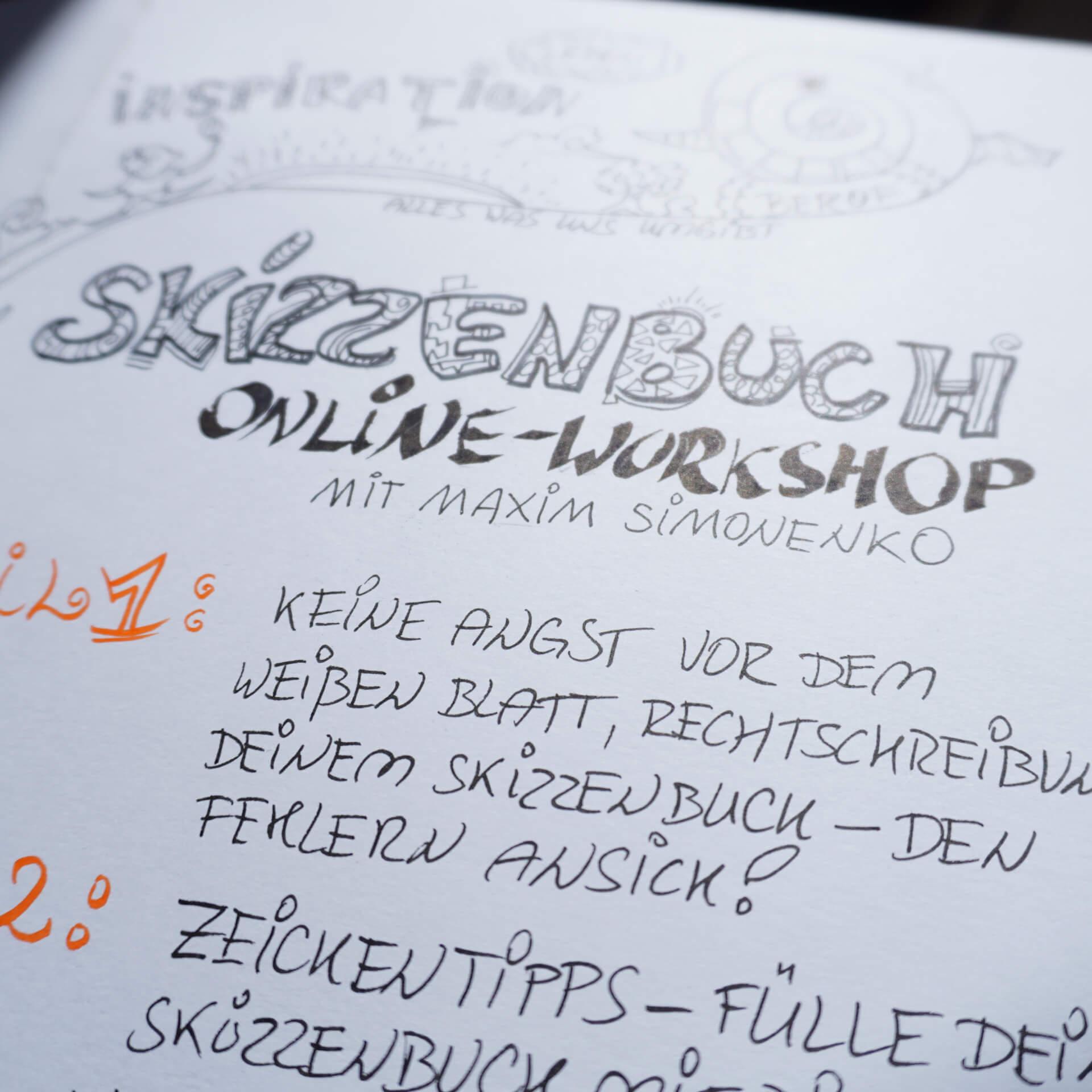 zeichnen im skizzenbuch kreative blockaden schön schrift kreativ zeichenheft workshop maximko