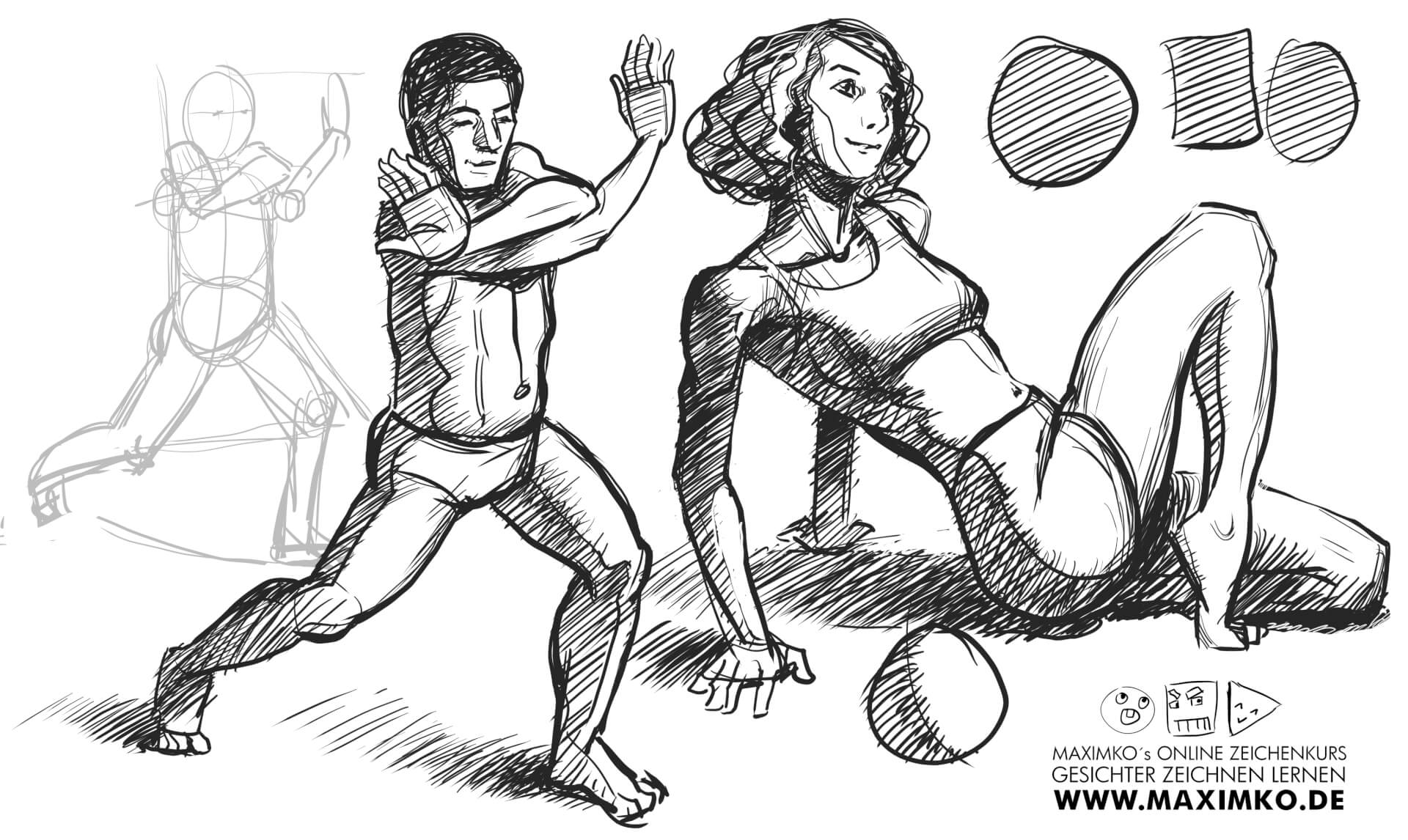 körper zeichnen posen live aktzeichnen proportionen konstruieren tutorial anleitung schritt für schritt manga comic concept art charakterdesign maxim simonenko