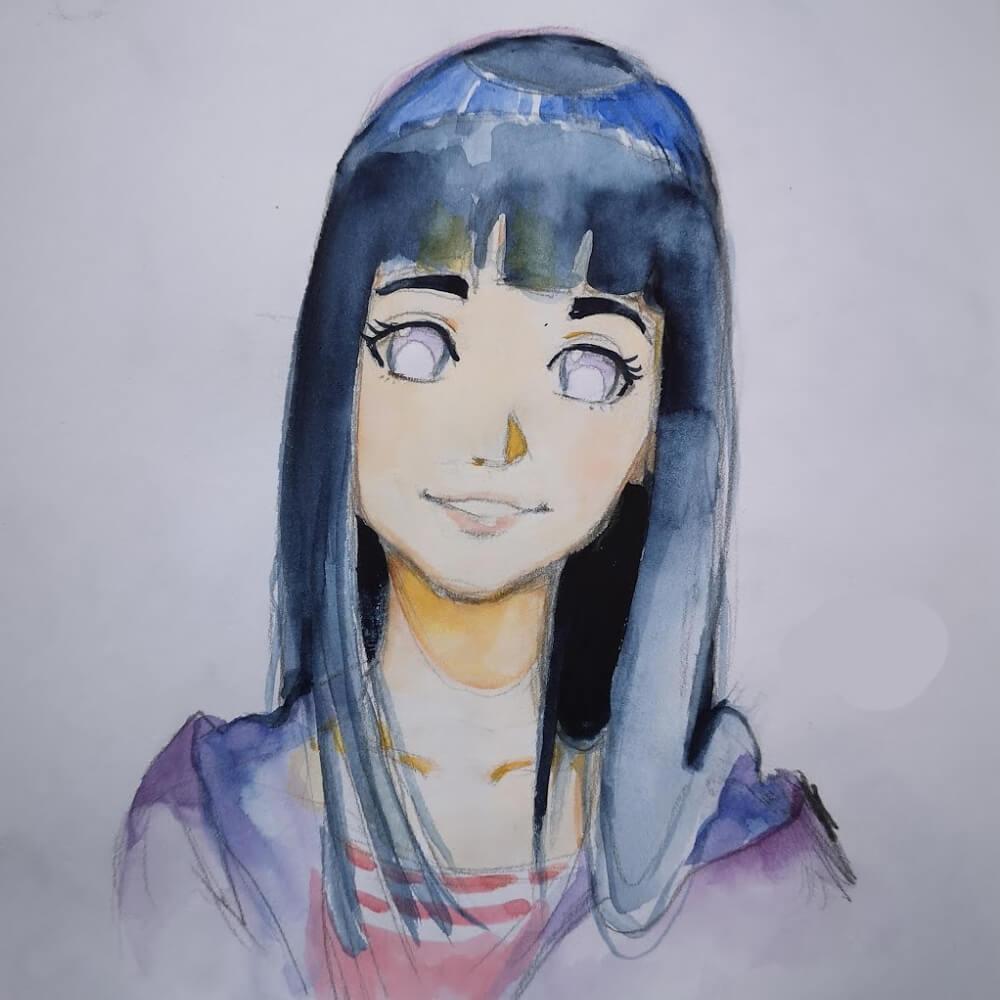 hinata naruto manga zeichnen lernen tutorial schritt für schritt anleitung aquarell zeichnung blaue haare
