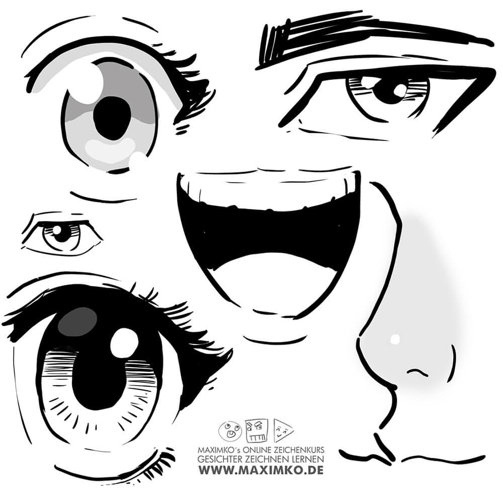 anime zeichnen für anfänger augen manga mund nase augenbrauen wimpern tutorial schritt für schritt maxim simonenko