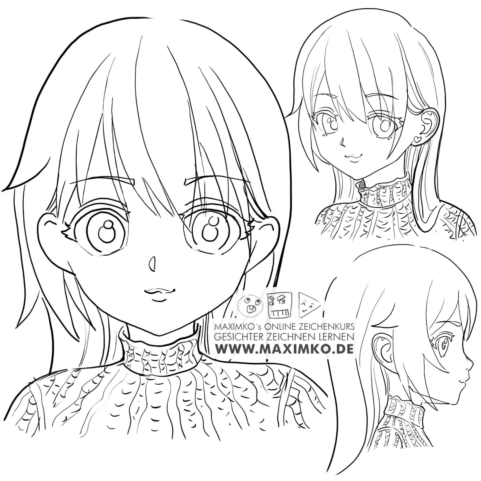 anime zeichnen für anfänger outlines manga charakter figur süß lernen maximko