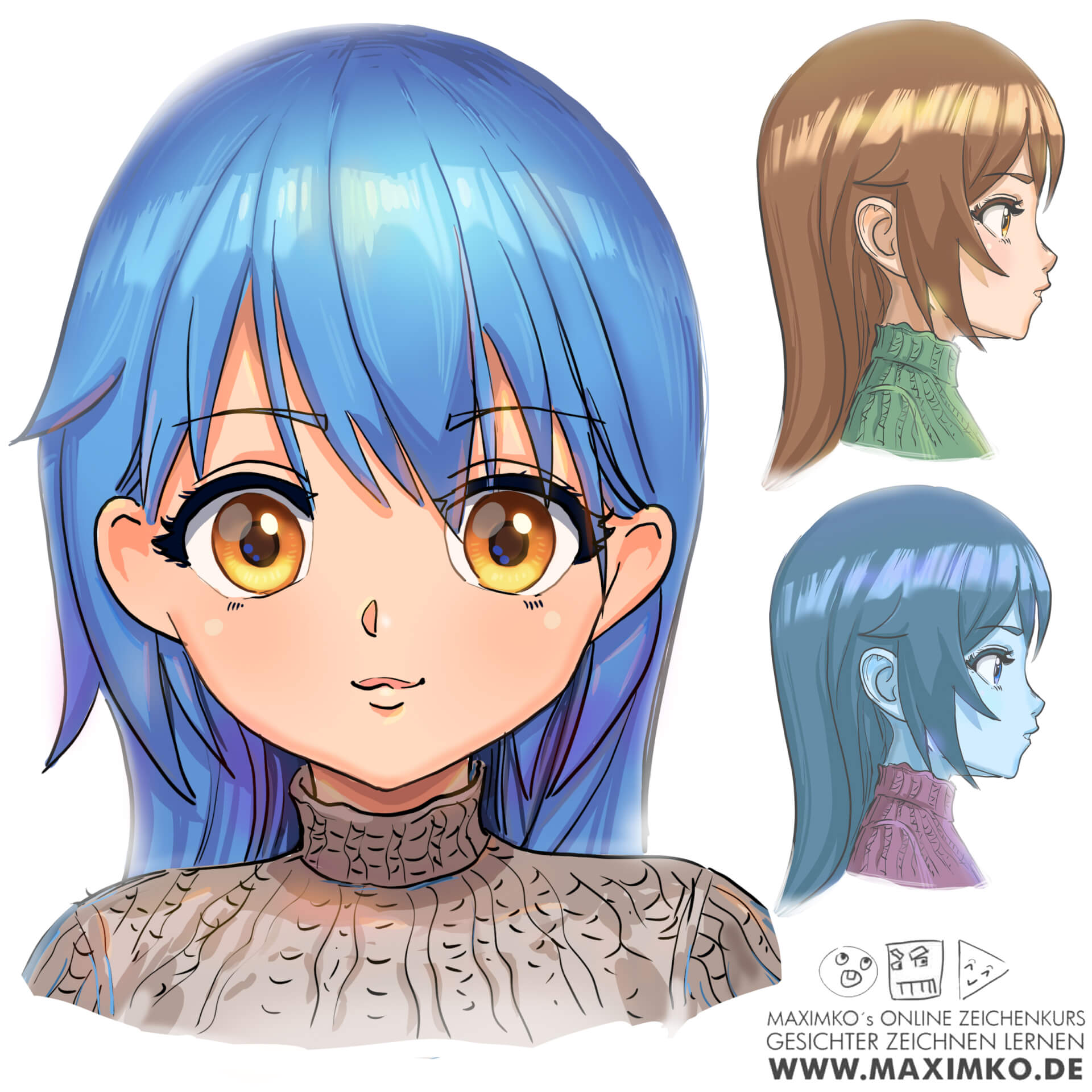 anime zeichnen für anfänger manga farbe digital procreate clipstudio paint photoshop tutorial kurs maximko
